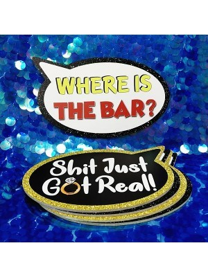 Shit Just Got Real & Where Is The Bar, Double-Sided PVC Speech Bubble Photo Booth Word Board Signs