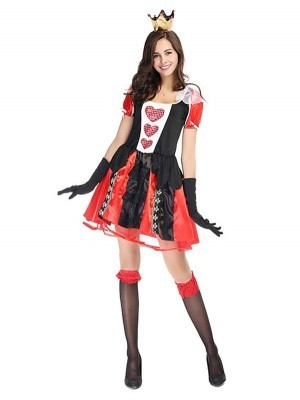 Short Style Queen Of Hearts Fancy Dress Costume
