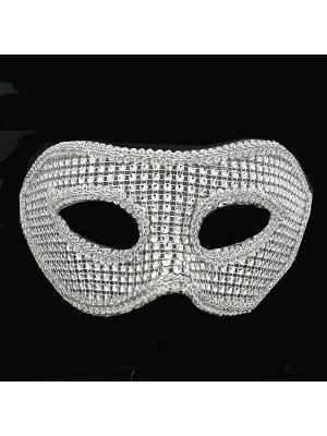 Classic Style Silver Diamante Masquerade Mask