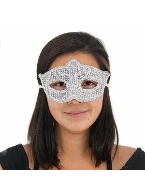 Pointed Style Silver Diamante Masquerade Mask