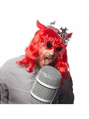 Red Devil Wig With Horns