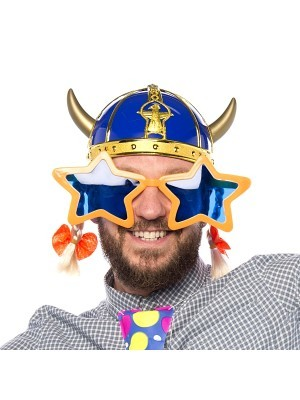 Blue Viking Helmet With Braids & Ribbons