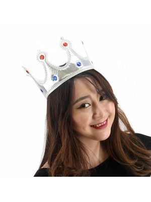 Soft Silver Royal Crown With Jewels