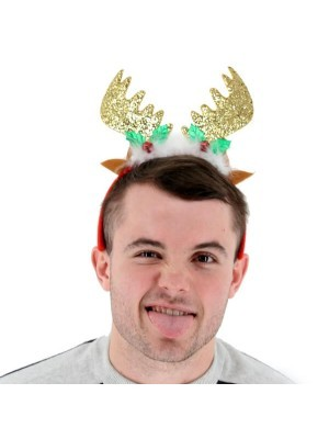 Sparkly Gold Glitter Reindeer Antlers with Ears Headband
