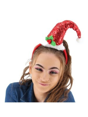 Sparkly Sequined Red Santa Hat Headband