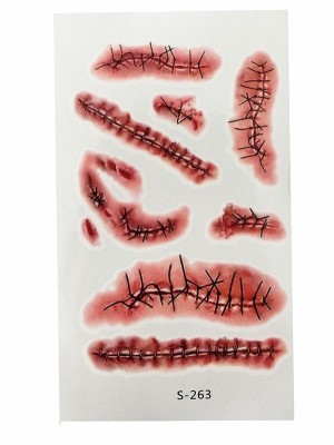 Stitched Wounds Temporary Tattoo Pack- S-263