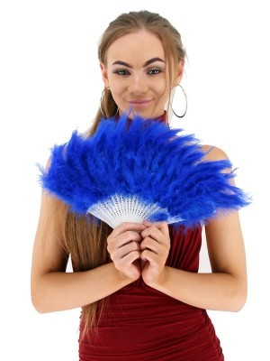 Stunning Dark Blue Feather Fan