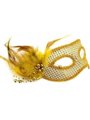 Stunning Feathered Diamante Mask In Gold