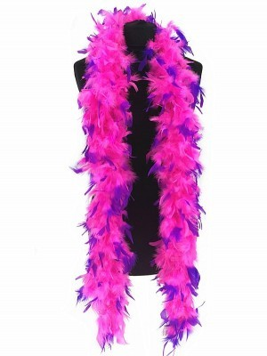 Luxury Pink Feather Boa with Purple Tips 80g -180cm