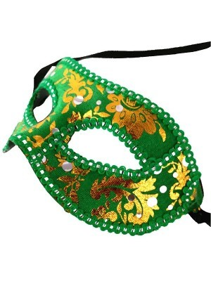 Venetian Embroided Mask Green