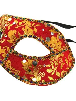 Venetian Embroided Mask Red