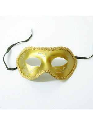 Shiny Venetian Gold with Silver Detail Masquerade Mask