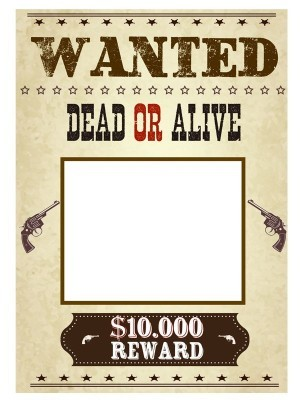 CUSTOM 'Wanted' Poster Fully Printed Posing Frame