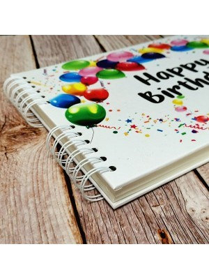 Good Size White Cover Happy Birthday Guestbook