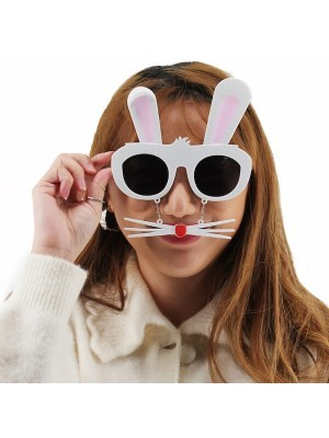 White Bunny Ear with Moustache Glasses