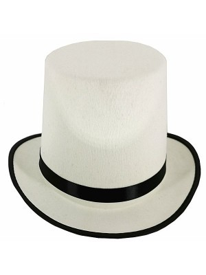 Gentleman's Felt Top Hat in White