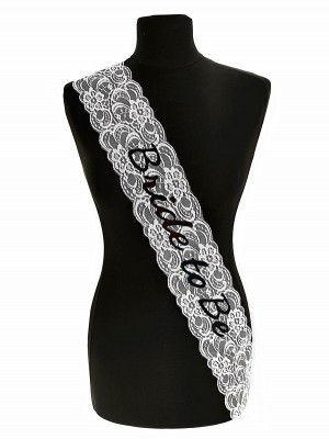 White Lace With Black 'Bride To Be' Sash