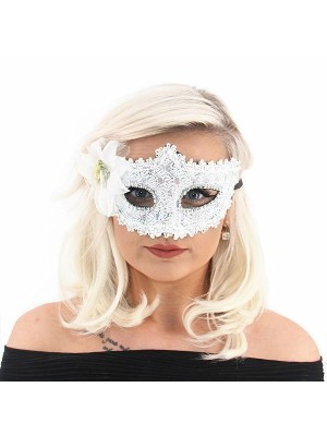 Elegant Lace Floral Masquerade Mask In White
