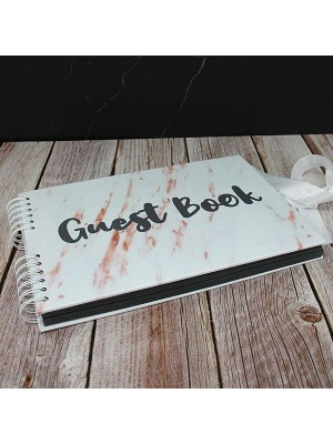 Good Size White Marble Guestbook With Black 'Guest Book' Message