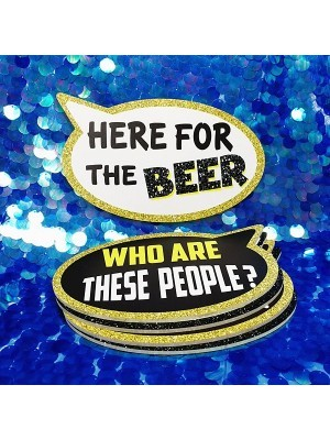 Who Are These People & Here For The Beer, Double-Sided PVC Speech Bubble Photo Booth Word Board Signs