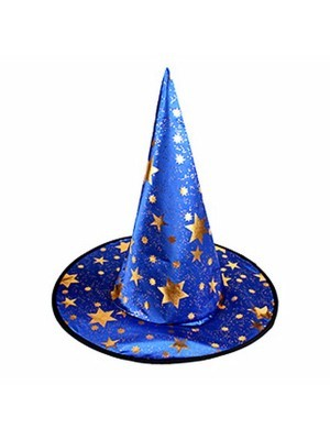 Blue & Gold Stars Wizard & Witches Pointed Hat Halloween Fancy Dress Accessory