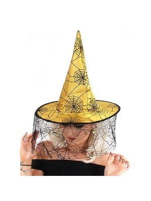 Gold & Black Spider Webs Witches Pointed Hat With Face Web Netting Halloween Fancy Dress Accessory