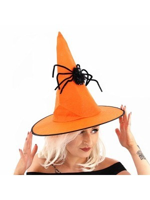 Orange Witches Pointed Hat with Spooky Spider Halloween Fancy Dress Accessory