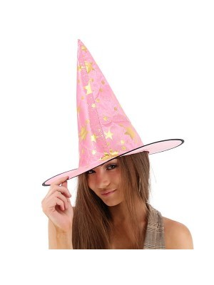 Pink & Gold Stars Wizard & Witches Pointed Hat Halloween Fancy Dress Accessory