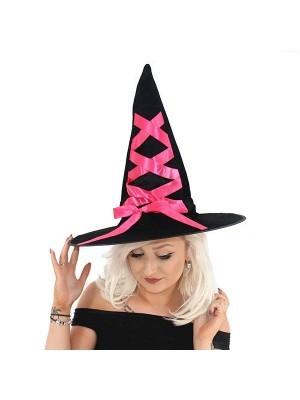 Bewitching Black Witches Pointed Hat With Pink Ribbon Halloween Fancy Dress Accessory