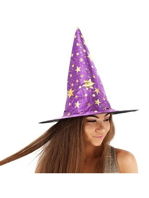 Wizard Hat Purple & Gold, Witches pointed hat, Halloween Fancy Dress Accessory