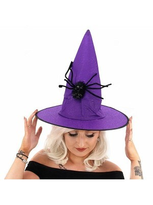 Purple Witches Pointed Hat with Spooky Spider Halloween Fancy Dress Accessory