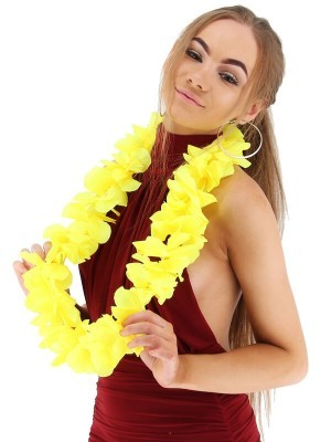 Yellow Hawaiian Flowered Party Lei