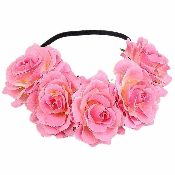 beautiful pink white garland flower headband