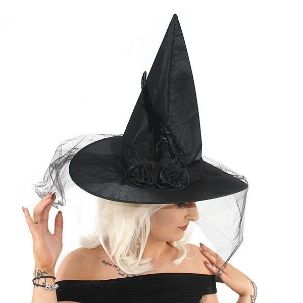 Black Witch Witches Hat Plain Halloween Fancy Dress Accessory Adult Party Point