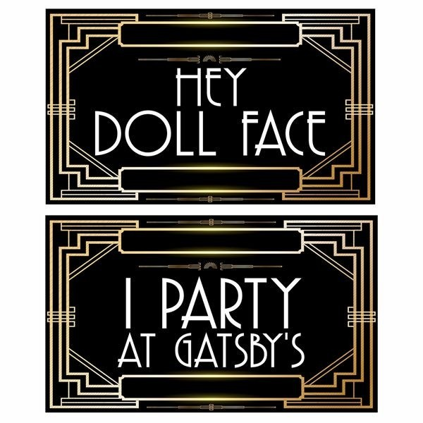Set Of 6 Pvc Double Sided Great Gatsby Themed Photo Booth