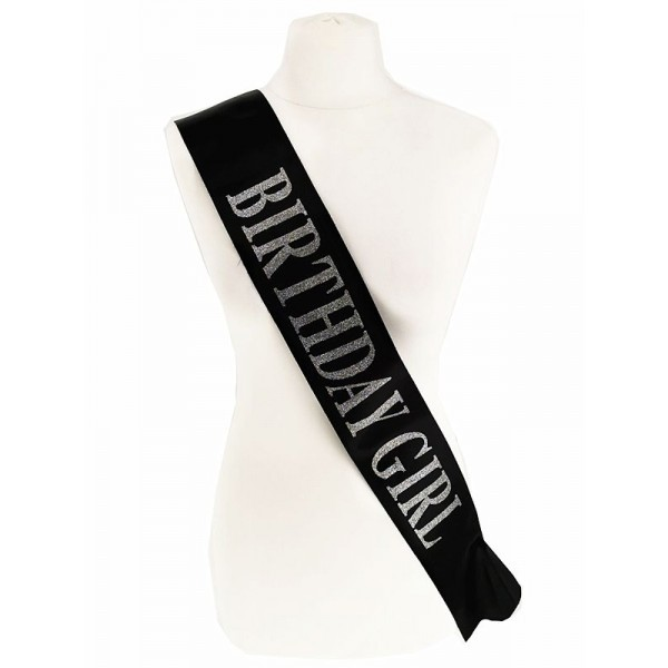 Black With Silver Glitter 'Birthday Girl' Sash