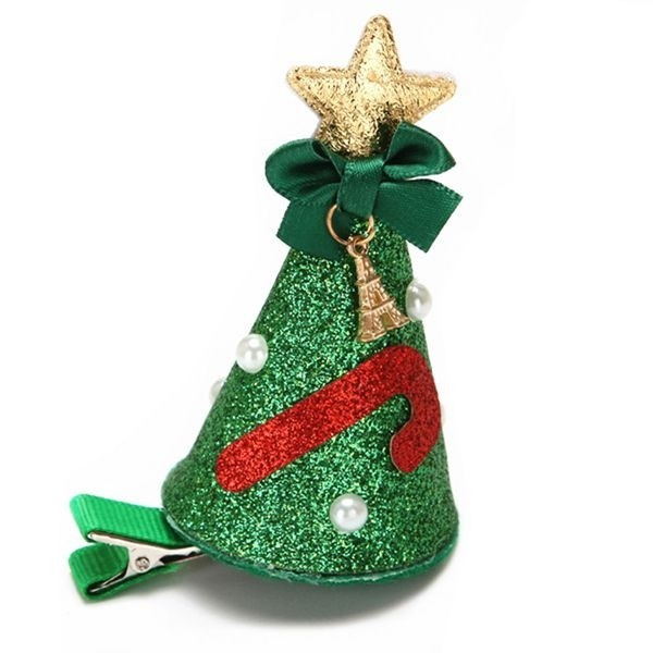 Christmas Top Hat.Green Glitzy Top Hat Christmas Hair Clip