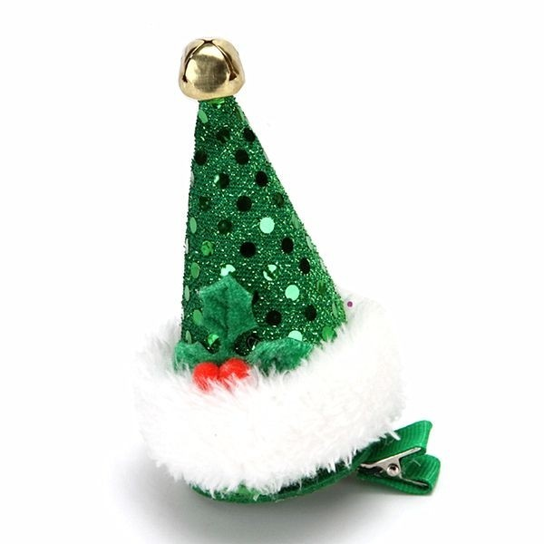 Christmas Hair Clips.Green Sequin Top Hat Christmas Hair Clip