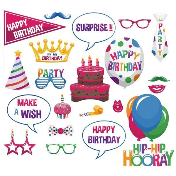 Pack of 22, Ready Made, Happy Birthday Card, Photo Booth Props On Sticks