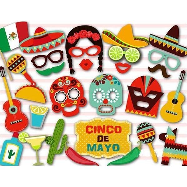 29pc Mexican Cinco De Mayo Sombrero Photo Booth Selfie Props On Sticks