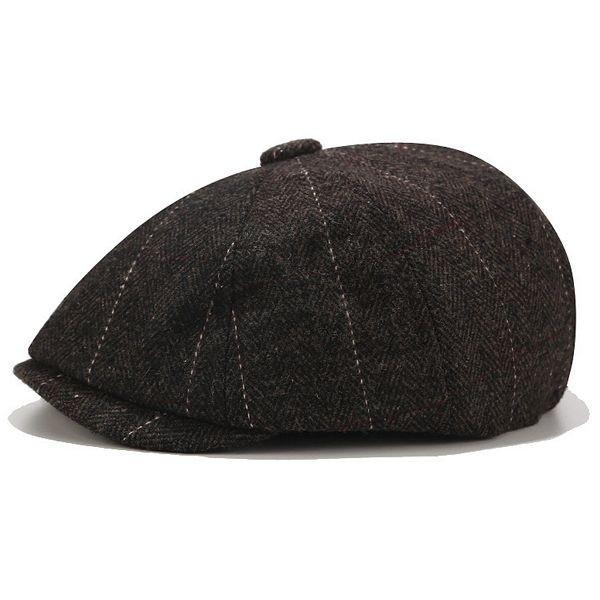 Peaky Shelby Baker Boy Flat Cap - Black Tweed