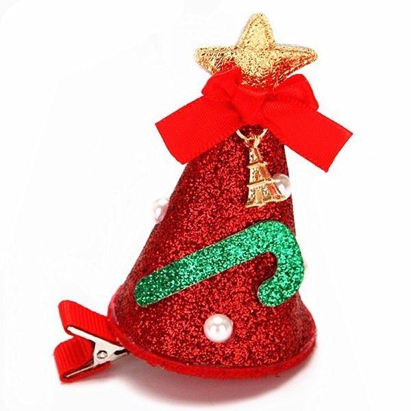 Christmas Hair Clips.Red Glitzy Top Hat Christmas Hair Clip