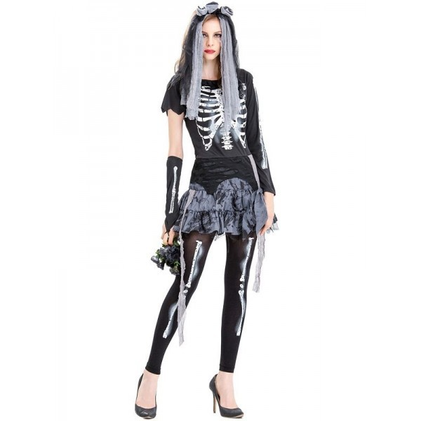 Ladies Fancy Dress Novelty Christmas Women Scary Costume Tights One Size