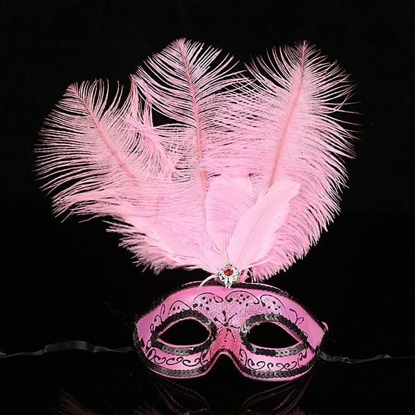 foto de Ultimate Feathered Burlesque Masquerade Mask in Light Pink